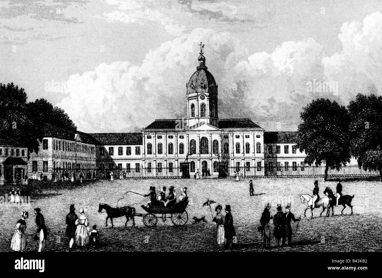 geography / travel, Germany, Berlin, Charlottenburg Palace, exterior view, cupola with wing, engraving, early 19th - Stock Image