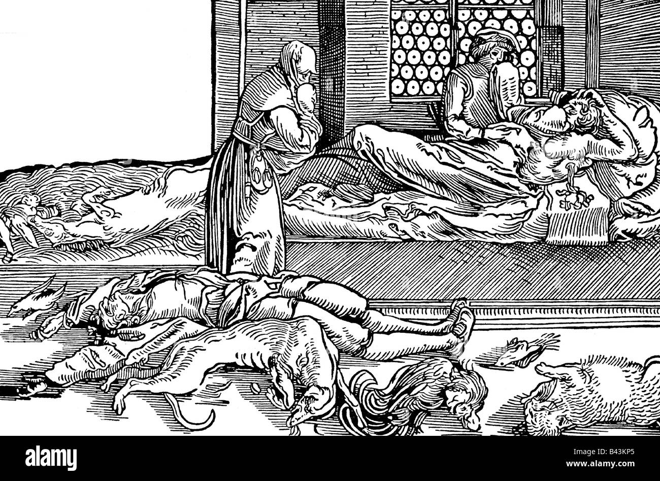 medicine, epidemics, plague, plague house, middle ages, woodcut by Hans Weidlitz the younger, Germany, 16th century, - Stock Image