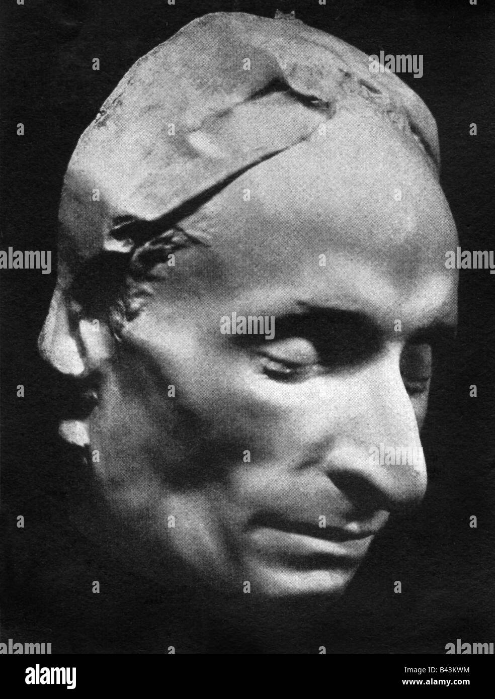 Pascal, Blaise, 19.6.1623 - 19.8.1662, French mathematician, philosopher and physicist, death-mask, Additional-Rights - Stock Image