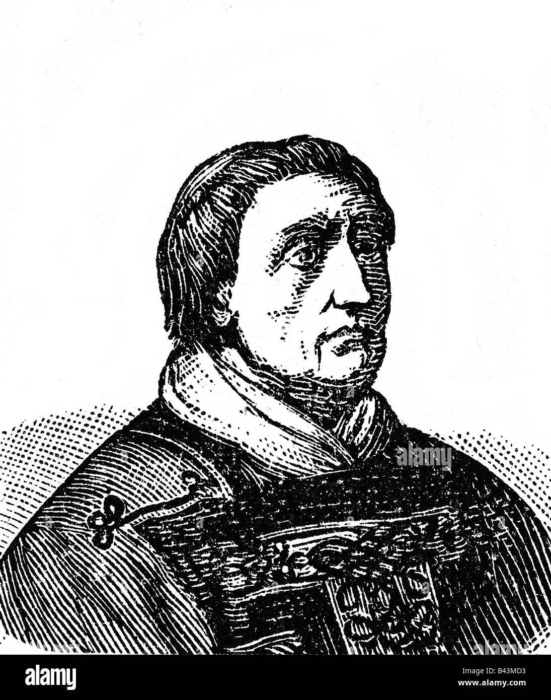 Celestine IV (Goffredo da Castiglioni), circa 1150 - 10.11.1241, Pope 25.10.1241 - 10.11.1241, portrait, wood engraving, - Stock Image