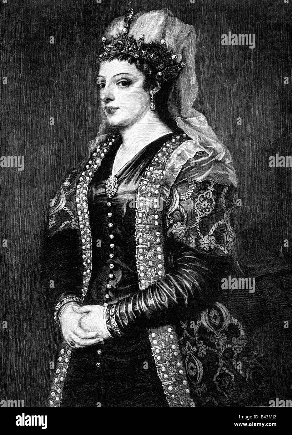 Cornaro, Catarina, 25.11.1454 - 10.7.1510, Queen on Jerusalem, Armenia and Cyprus 1474 - 1489, half length, copper - Stock Image