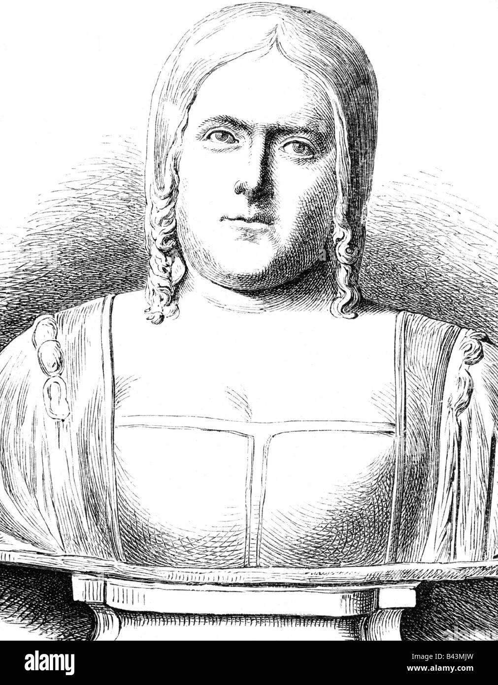 Cornaro, Catarina, 25.11.1454 - 10.7.1510, Queen on Jerusalem, Armenia and Cyprus 1474 - 1489, portrait, wood engraving - Stock Image