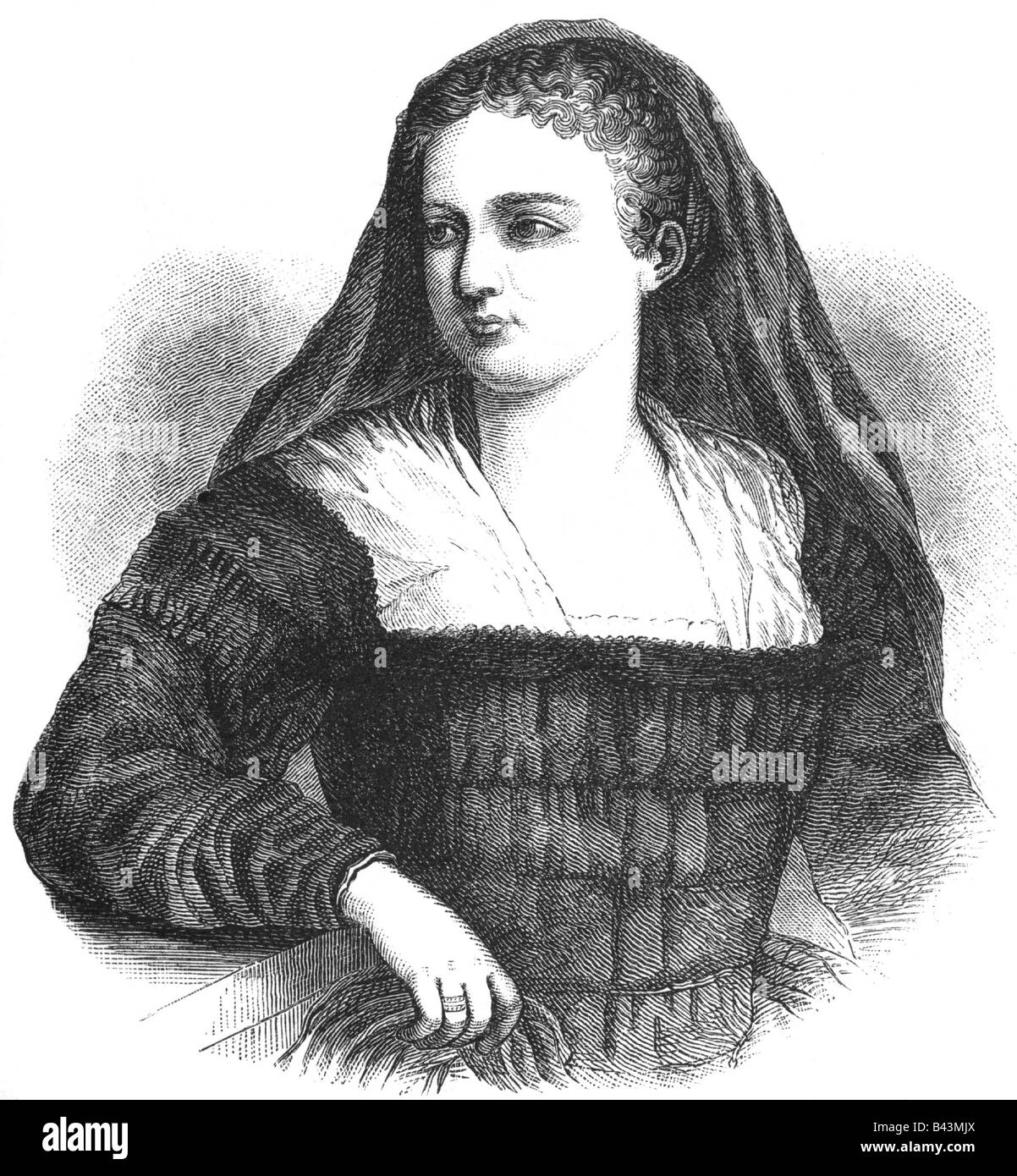 Cornaro, Catarina, 25.11.1454 - 10.7.1510, Queen on Jerusalem, Armenia and Cyprus 1474 - 1489,  wood engraving, - Stock Image