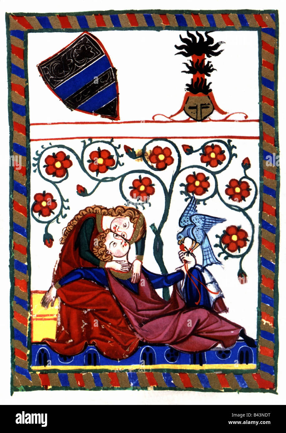 Konrad of Altstetten (mentioned 1268), Swiss minstrel, miniature, Codex Manesse), Zurich, 1305 - 1340, , Additional - Stock Image