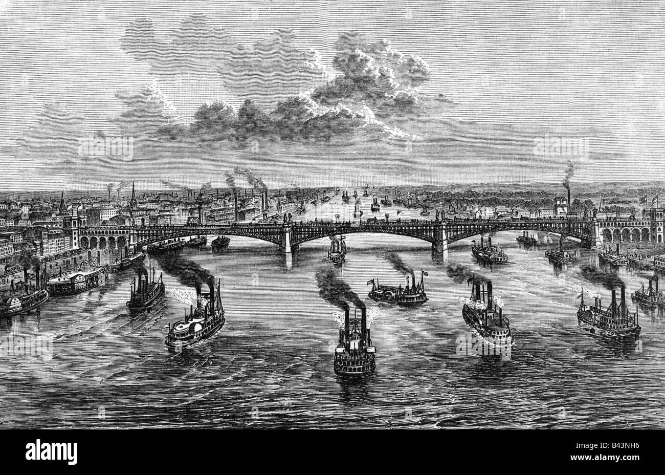 geography / travel, USA, Saint Louis, Missouri, bridge, Mississippi, engraving, 1882, Additional-Rights-Clearances - Stock Image