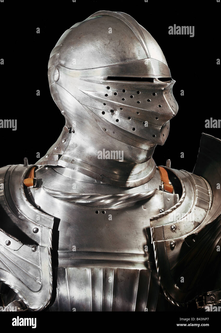 weapons / arms, amour, harness, helmet, visor, iron, embossed, Additional-Rights-Clearances-NA - Stock Image