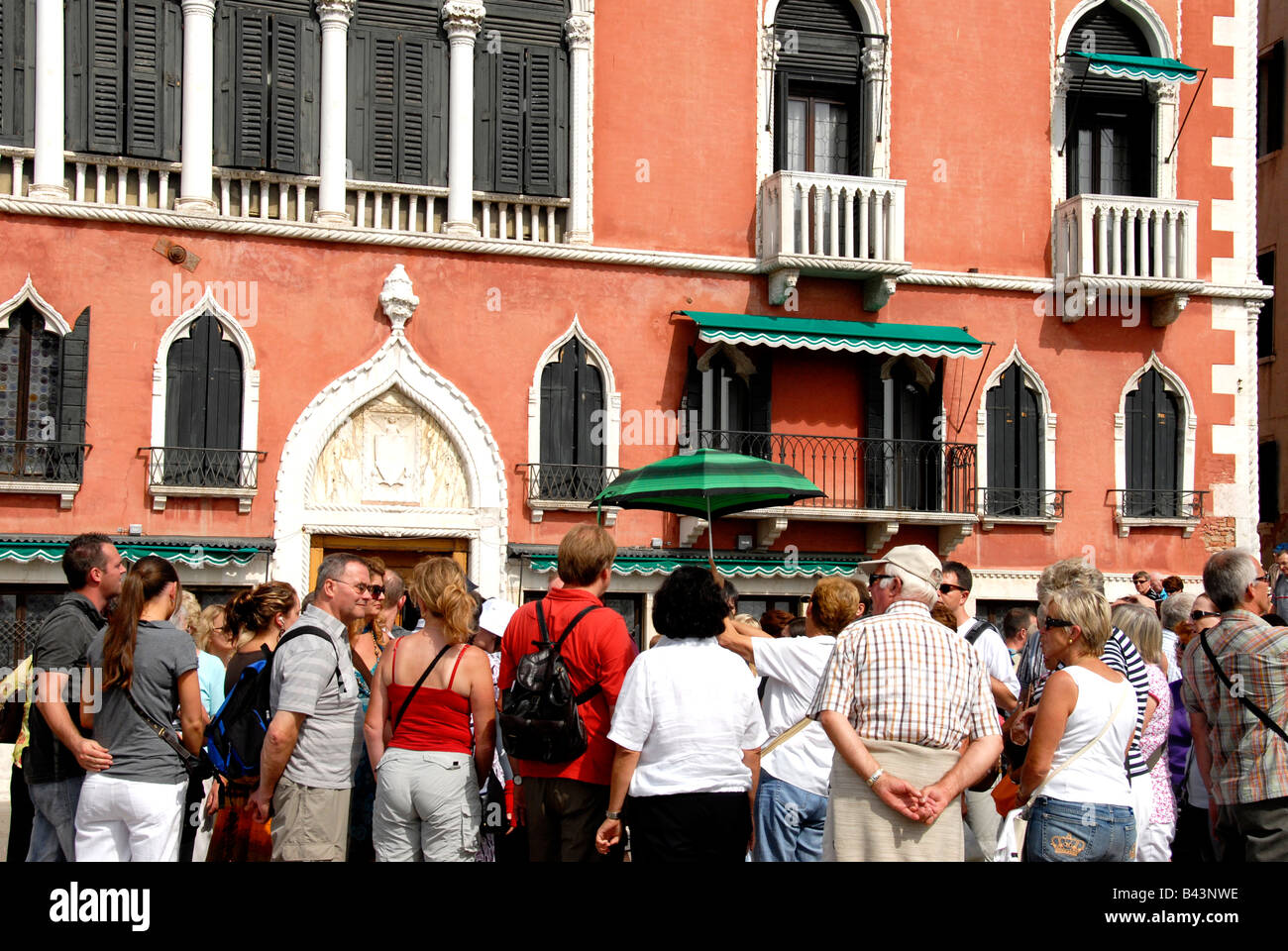 Tourists Before The Front Of Hotel Danieli Venice Italy