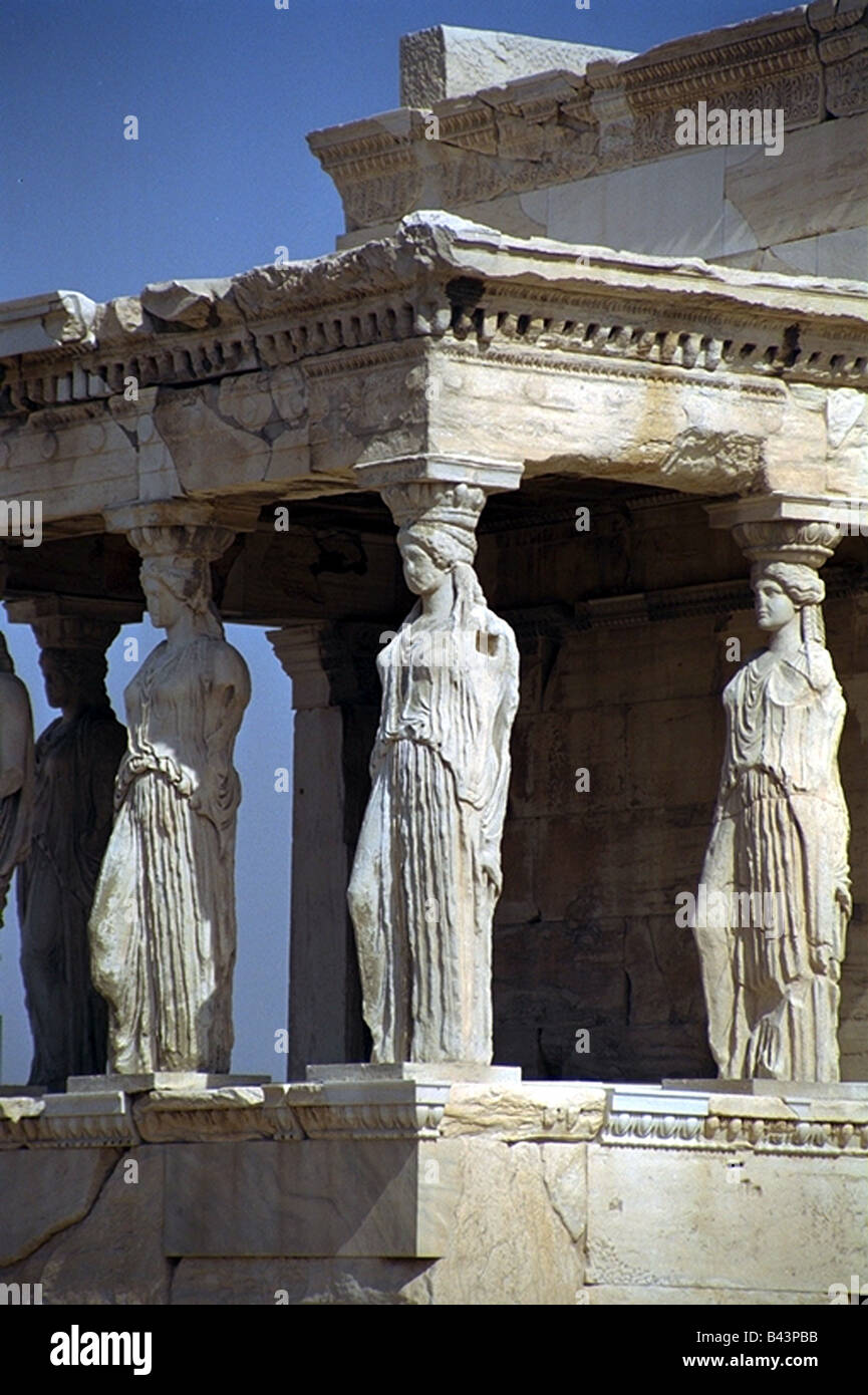 geography / travel, Greece, Athens, acropolis, caryatid hall at the Erechtheion, completed 409 / 406 BC, copies, - Stock Image