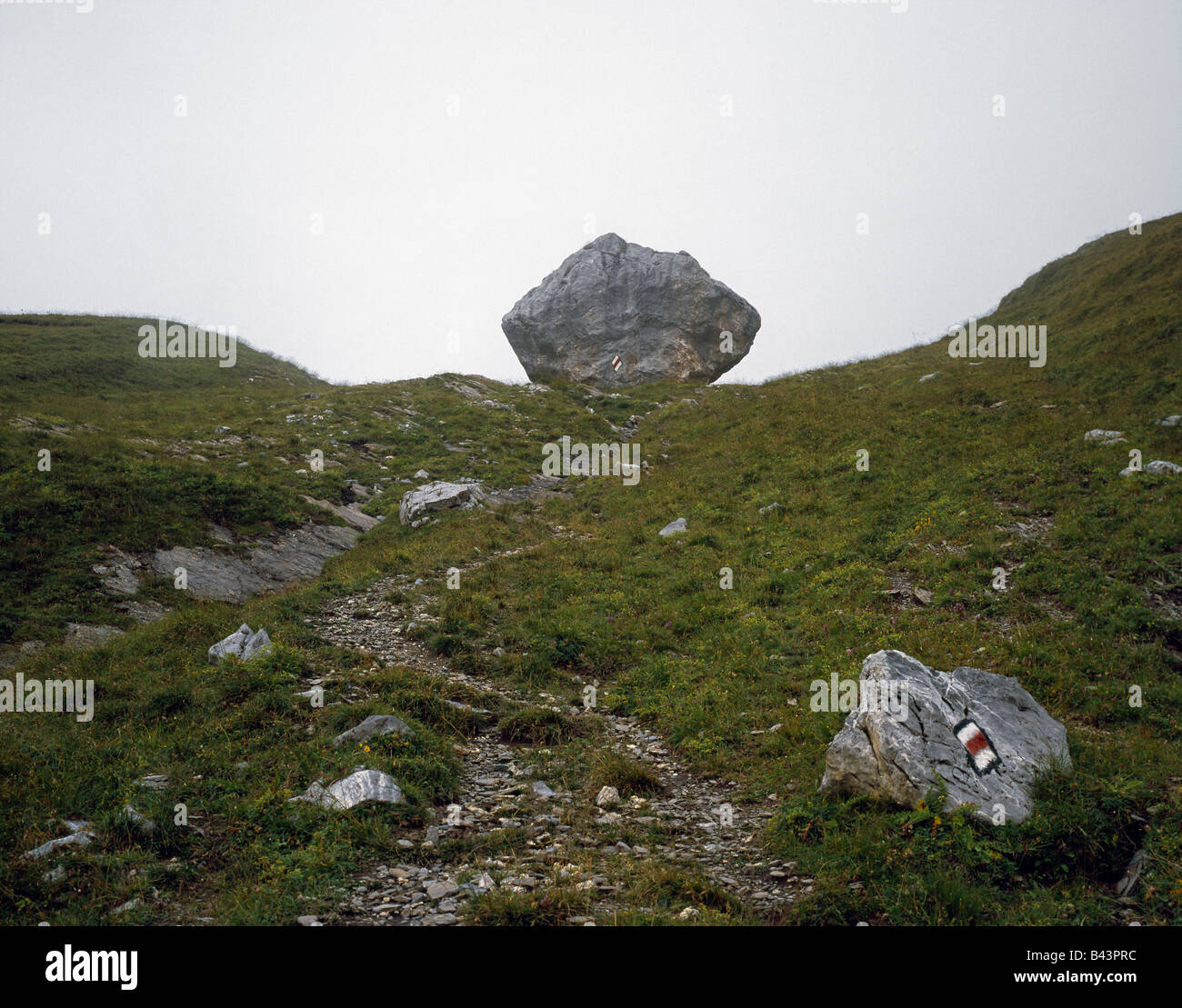 Trailmarkers on a big rock in the mist on the way up to Col du Sanetsch near Derborence Wallis Valais  Alps Switzerland - Stock Image