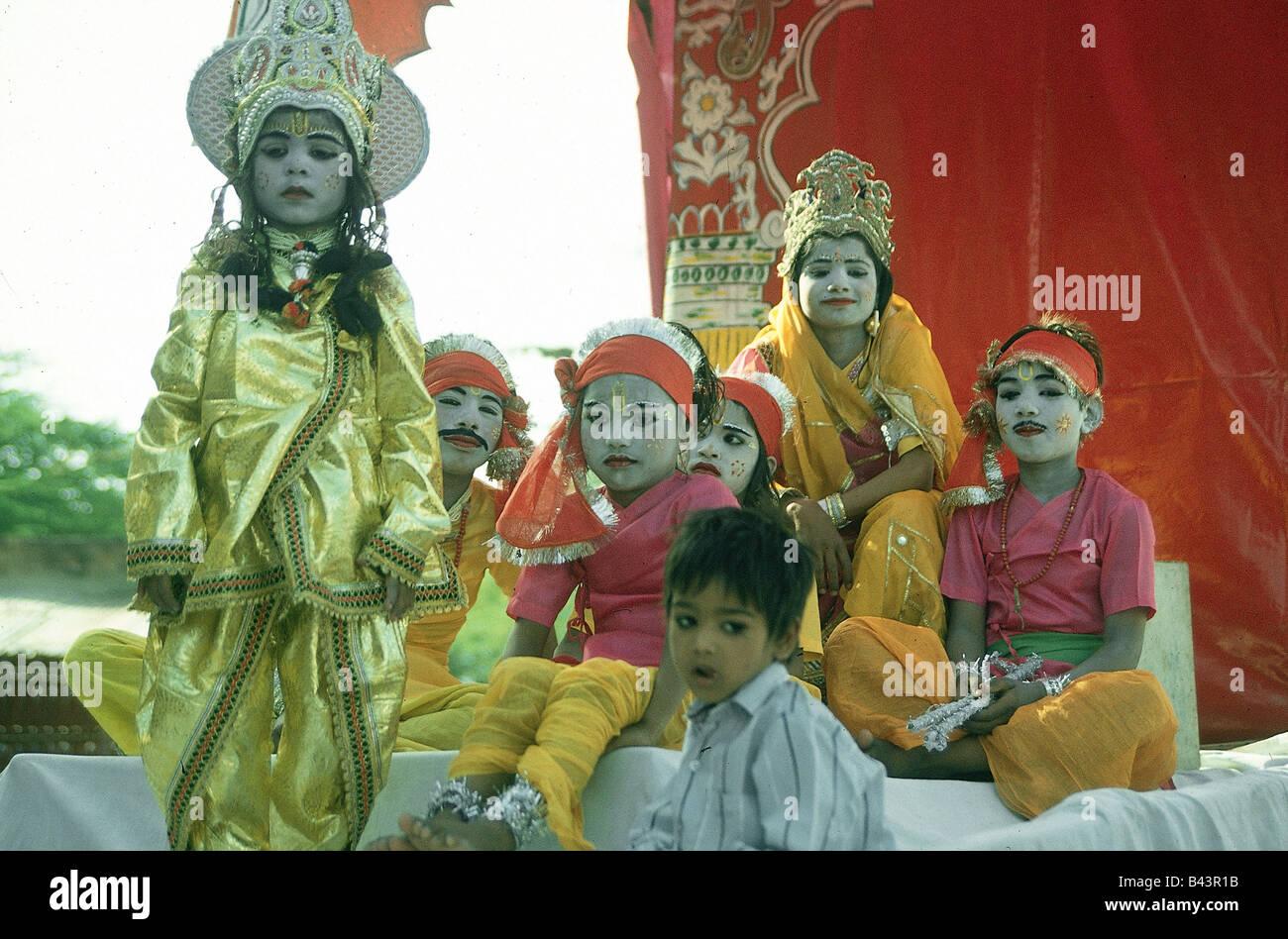 geography / travel, India, people, made-up children on the elephant celebration, Jaipur, Rajasthan, folklore, tradition, - Stock Image
