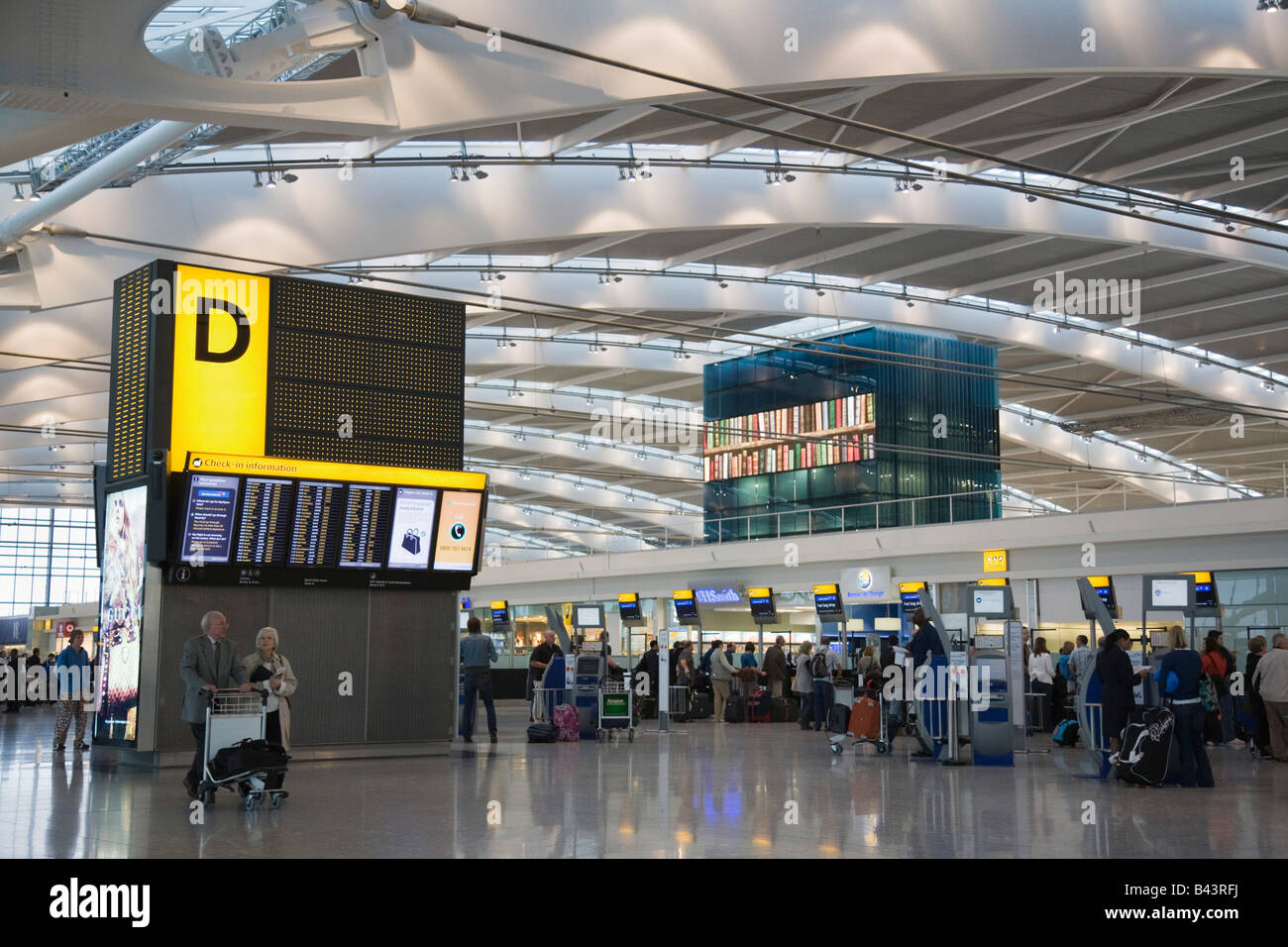 Heathrow Greater London England UK Heathrow Airport international BA departures check-in area in Terminal 5 - Stock Image