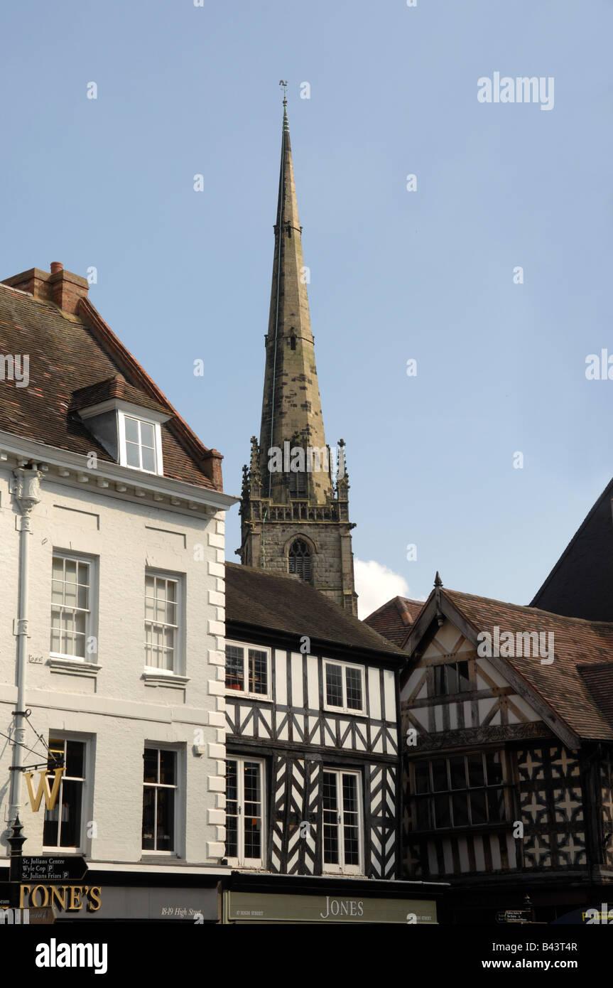Church spire in Shrewsbury Shropshire England Uk - Stock Image
