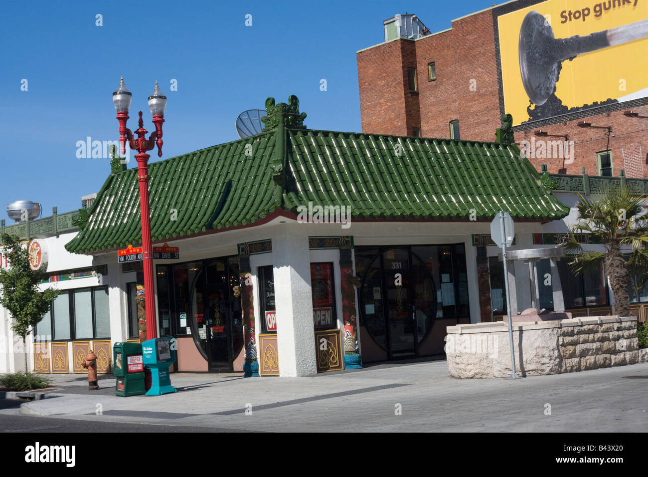 City Of Portland Oregon Or Usa Chinatown Restaurants Stock Photo