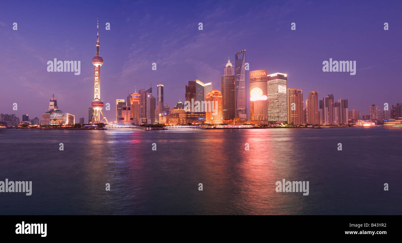 China Shanghai Financial skyline viewed over the Huanngpu river from the Bund - Stock Image