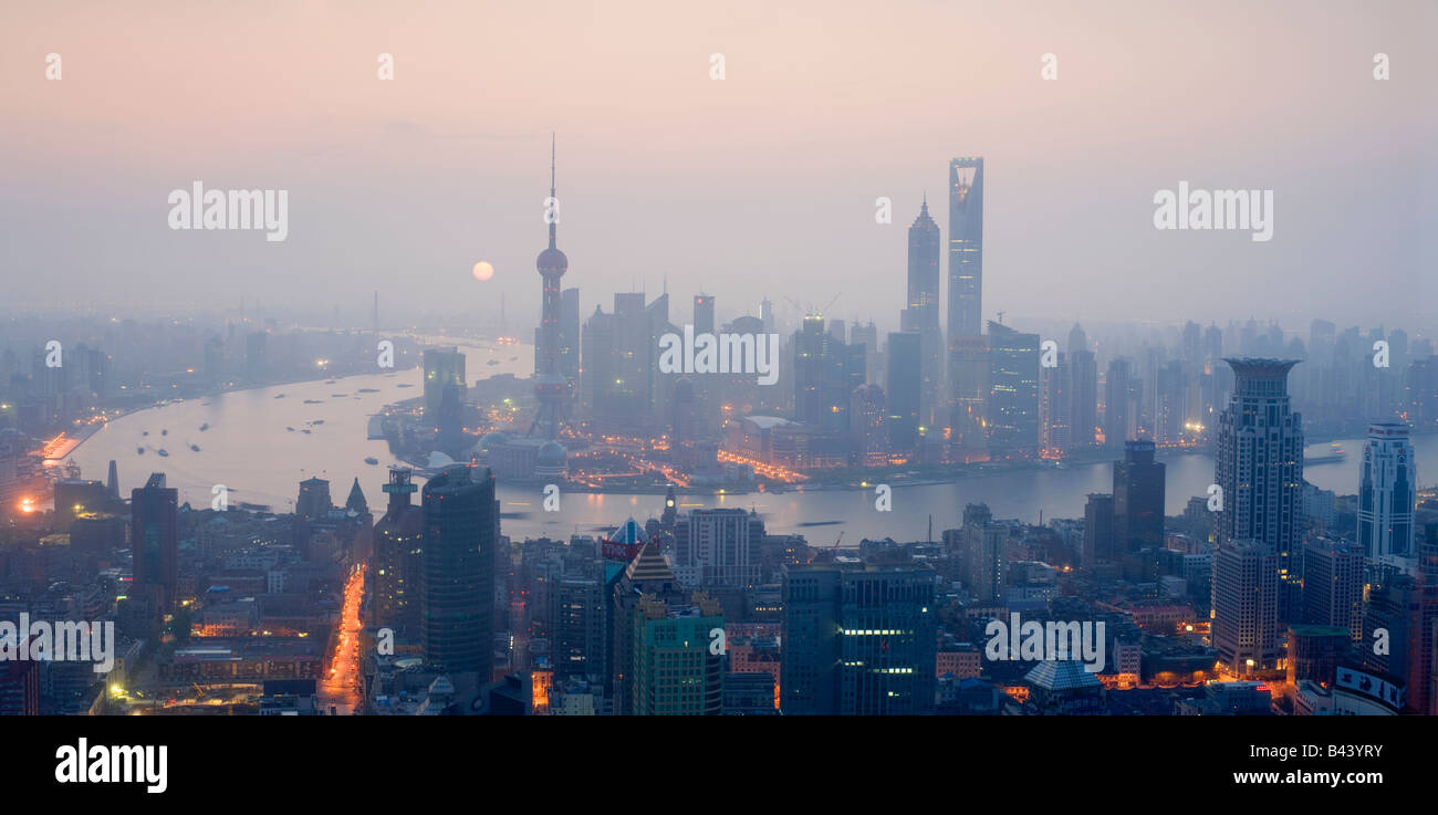 China Shanghai Elevated view of the financial Skyline viewed over the Huangpu river - Stock Image