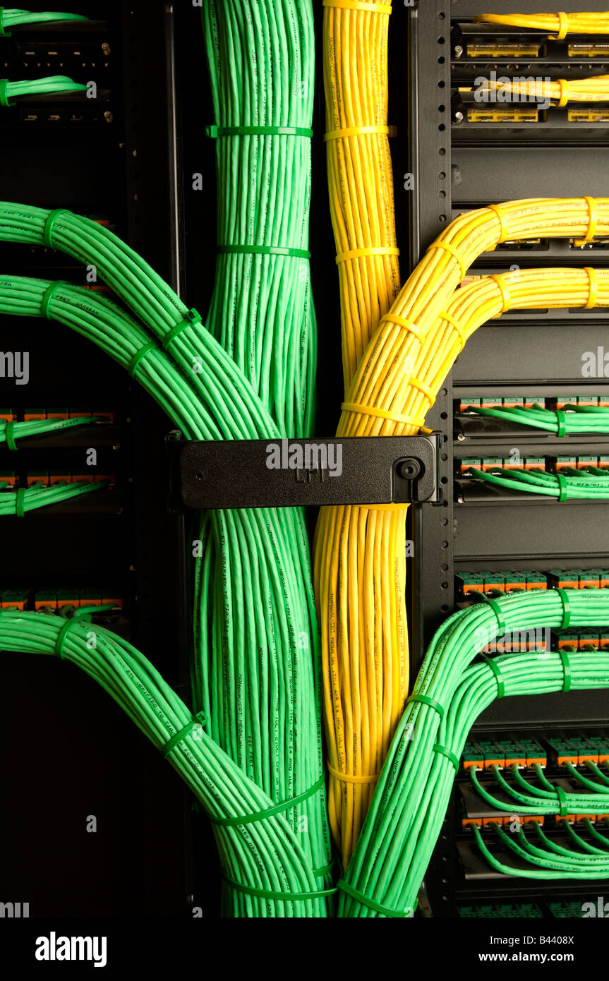 Bundles Of Yellow And Green Computer Wires At Data Center Wiring Server