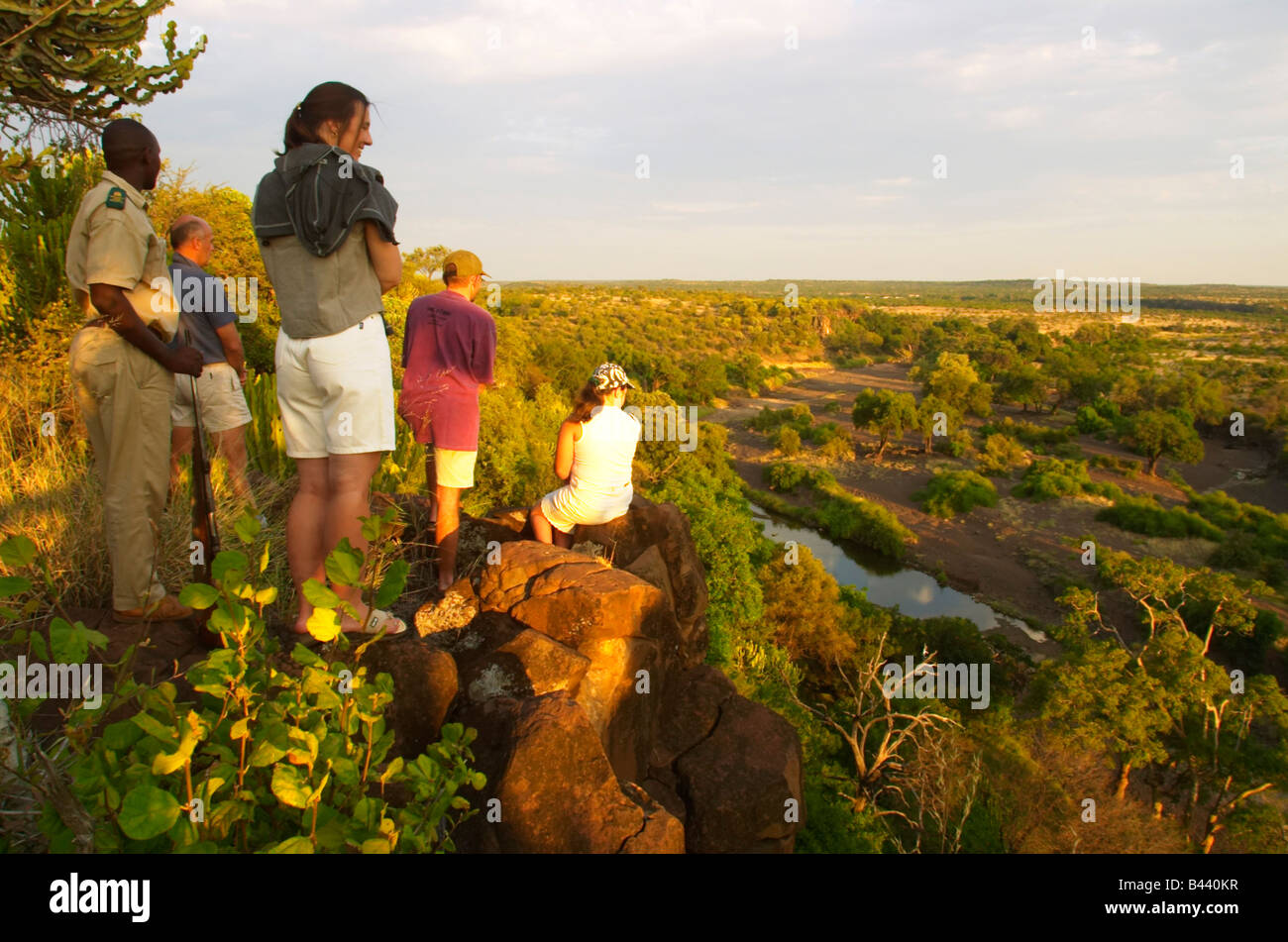 Guests on bush walk Mashatu Game Reserve Northern Thuli Block - Stock Image