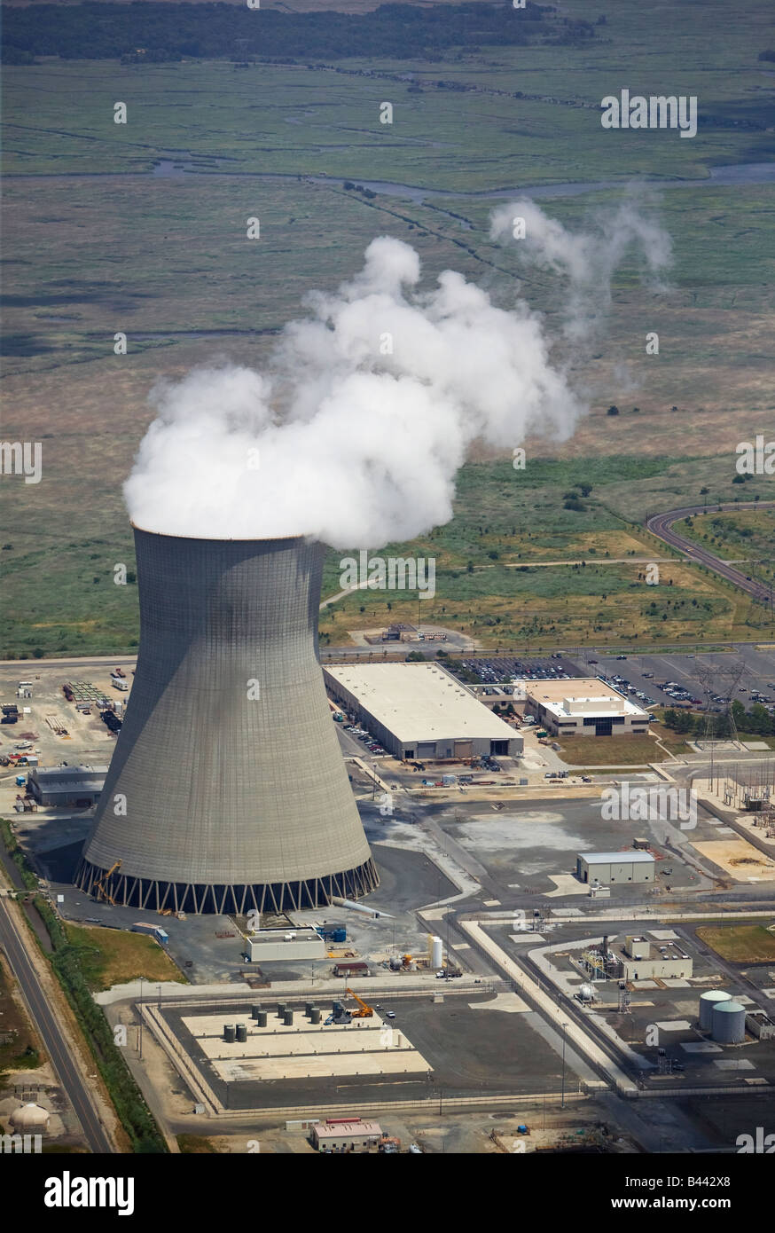 aerial view above the Hope Creek nuclear power plant PSEG Nuclear LLC Lower Alloways  New Jersey - Stock Image