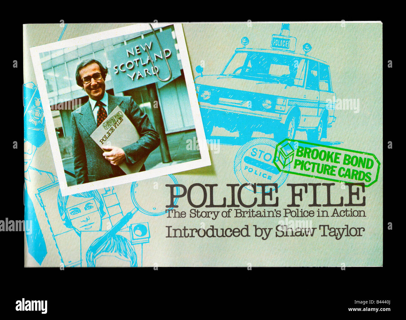 Brooke Bond PG Tips picture card album- Police File picture cards issued in 1977 showing the modern day British - Stock Image