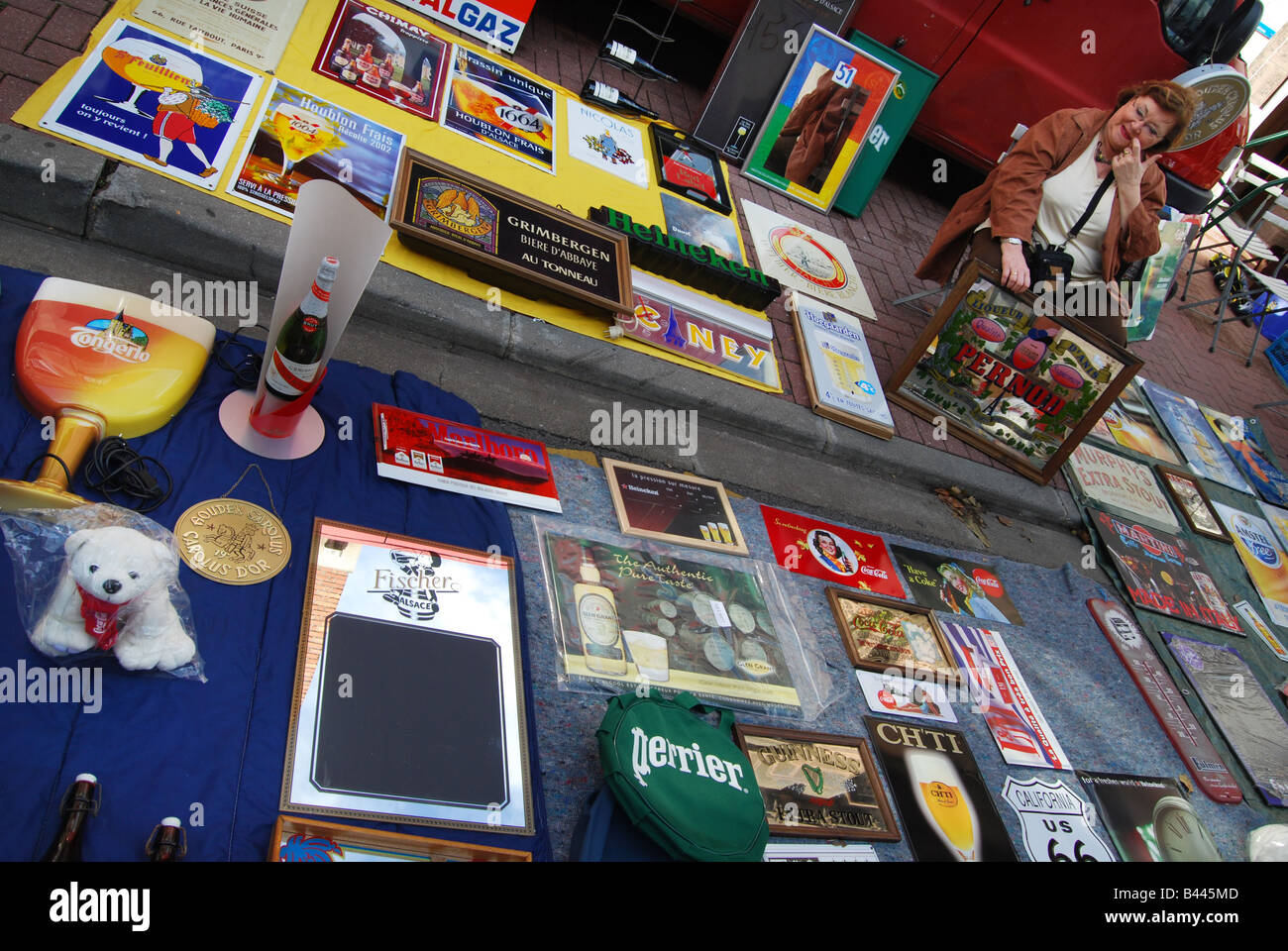 mixed collection of bric a brac at Lille Braderie France - Stock Image