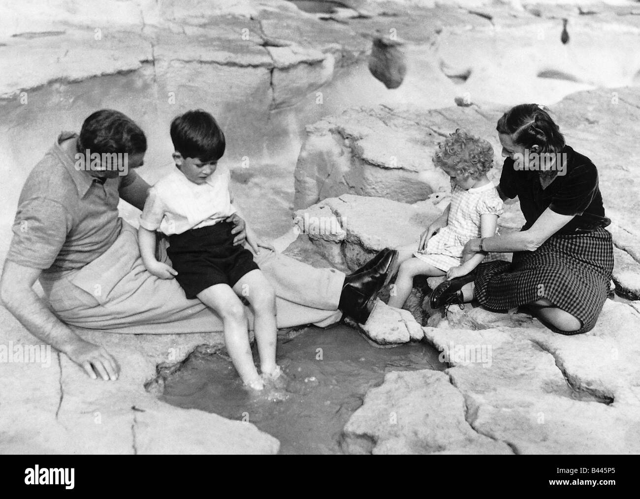 Prince Charles and Princess Anne with Earl and Lady Mountbatten during a holiday in Malta April 1954 - Stock Image