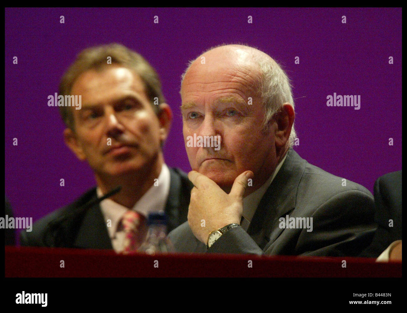 Labour s Health Secretary John Reid and PM Tony Blair at the Labour Party Conference in Bournemouth October 2003 - Stock Image