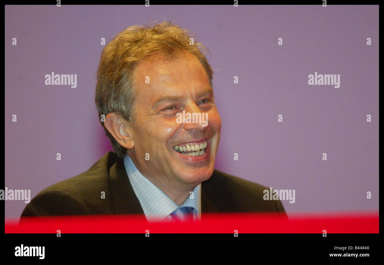 Tony Blair at the Labour Party Conference in Bournemouth October 2003 - Stock Image