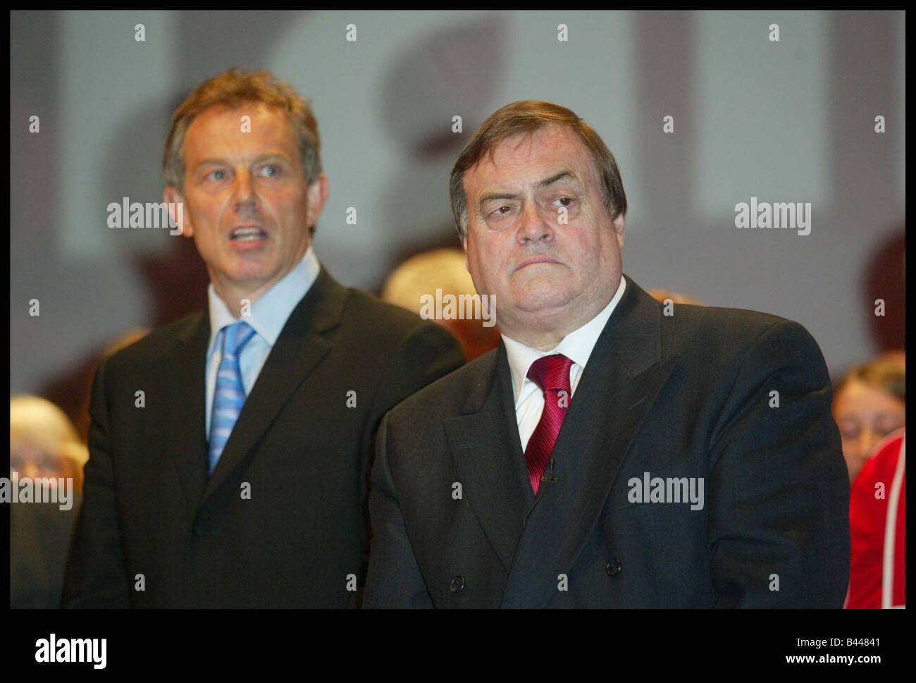 Tony Blair and John Prescott on stage at the end of the Labour Party Conference in Bournemouth October 2003 - Stock Image