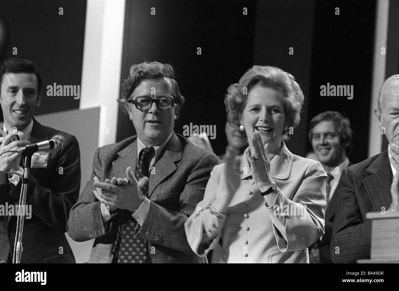 Geoffrey Howe and Margaret Thatcher October 1977 applaud the speech of William Hague at the Conservative Party Conference - Stock Image
