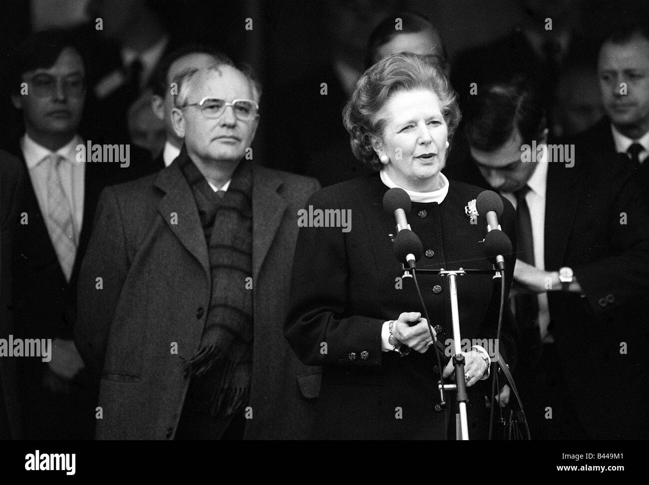 Margaret Thatcher meets President Mikhail Gorbachev at RAF base Brize Norton Dec 1987 - Stock Image