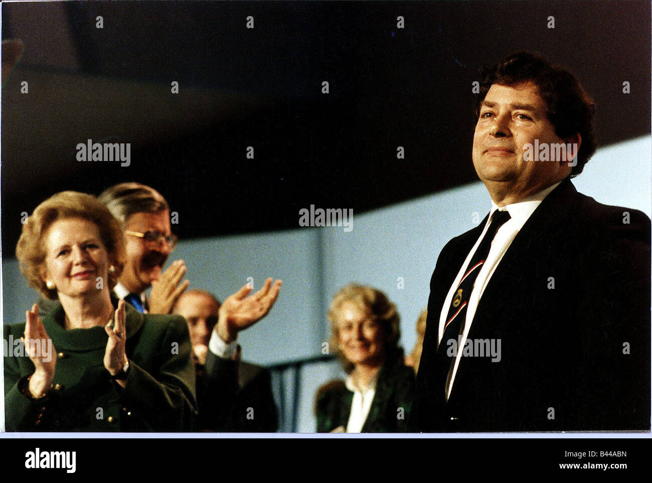 Nigel Lawson receiving standing ovation at Blackpool Conservative Conference on stage with Margaret Thatcher and - Stock Image