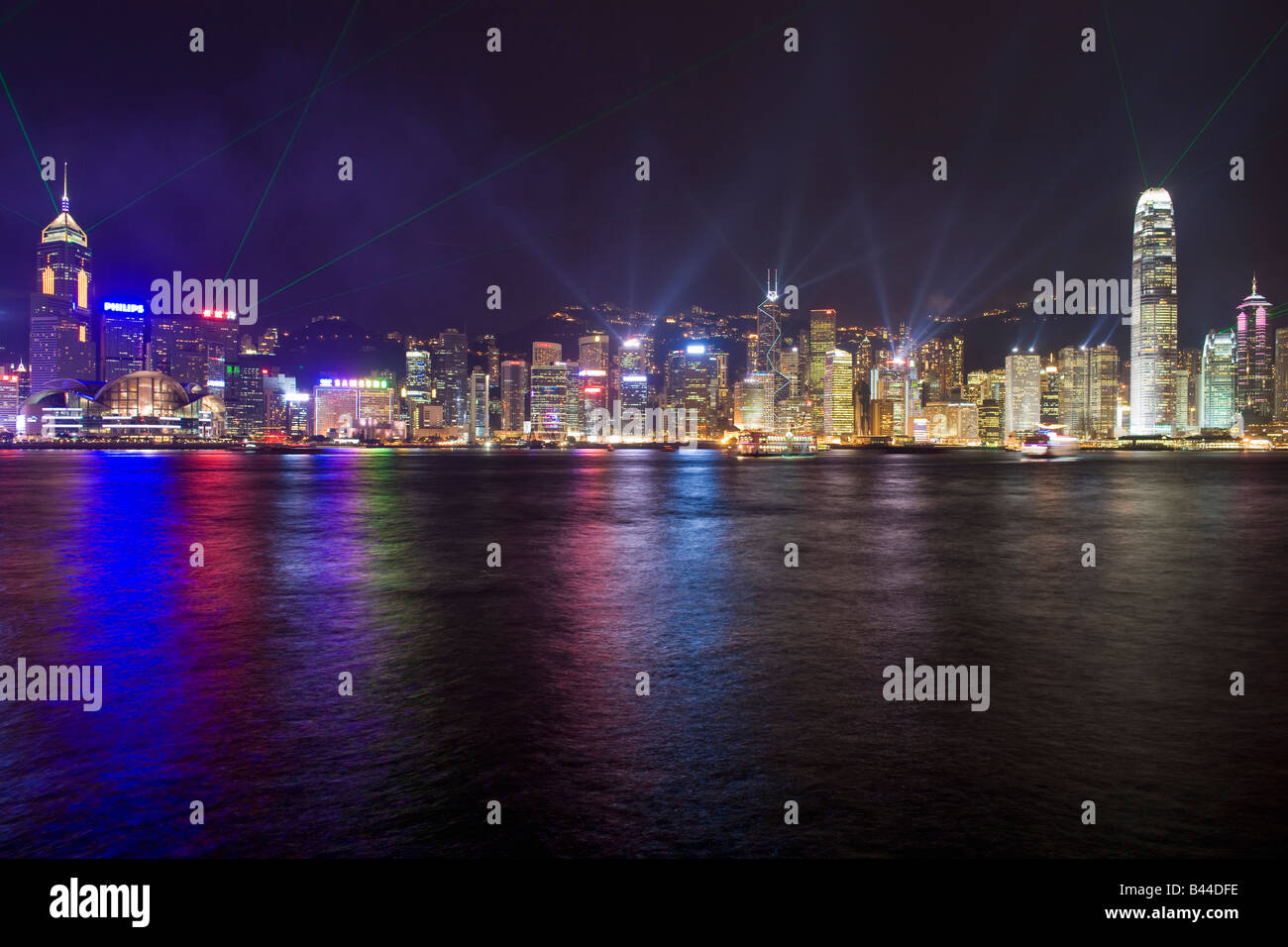 China Hong Kong Skyline and sound and light show viewed from Kowloon at dusk Stock Photo