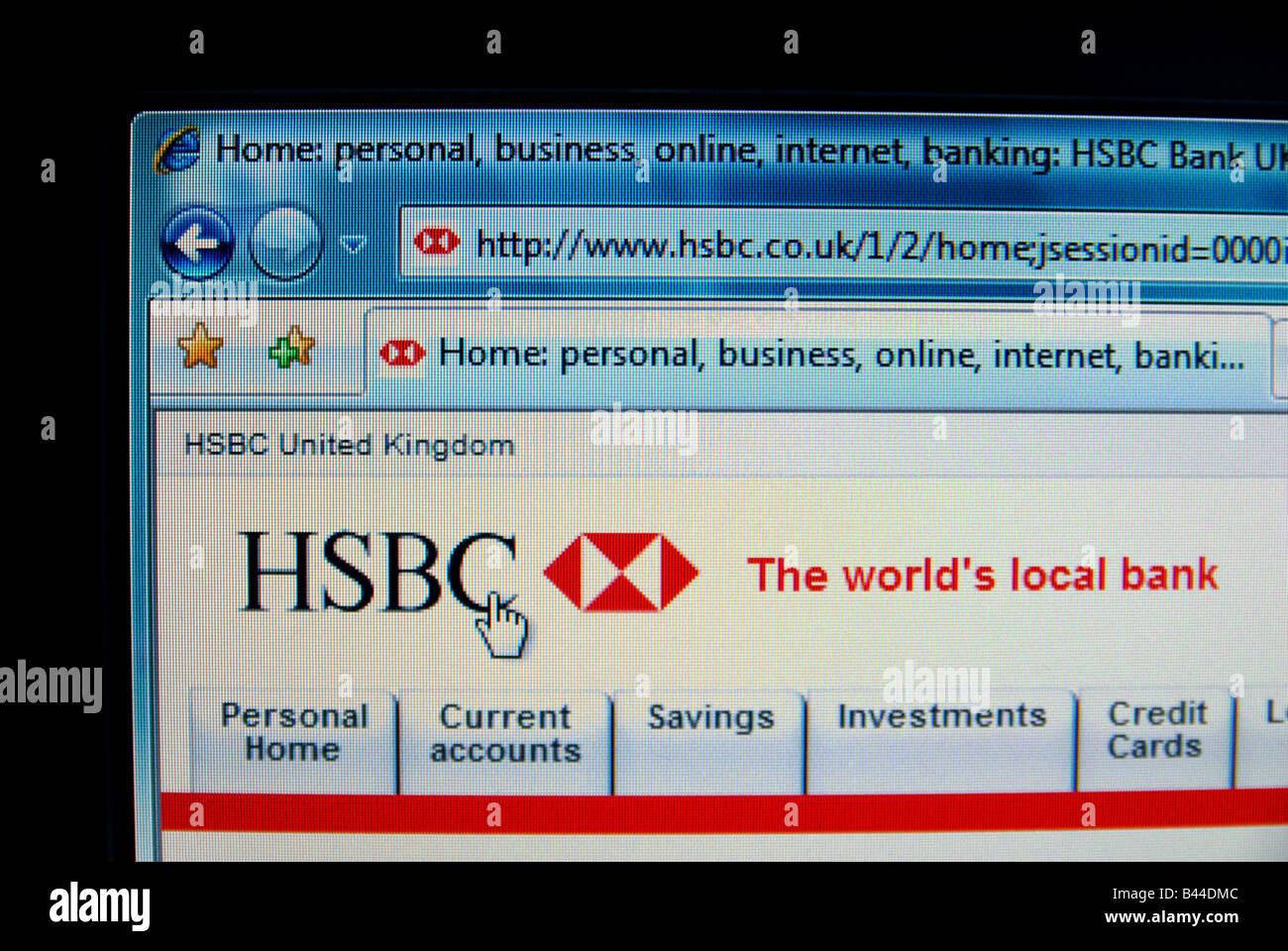 The HSBC banks website, creative focus/composition Stock