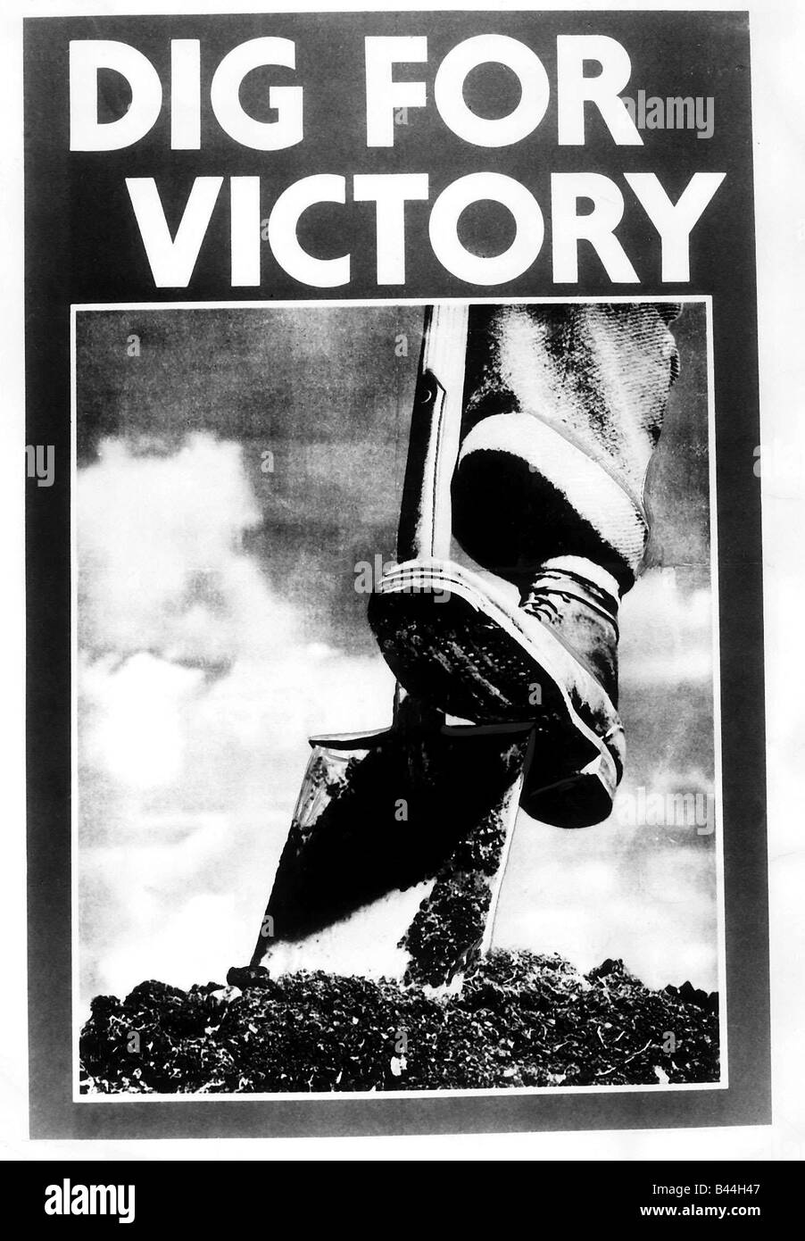 WW2 poster asking people to Dig For Victory - Stock Image