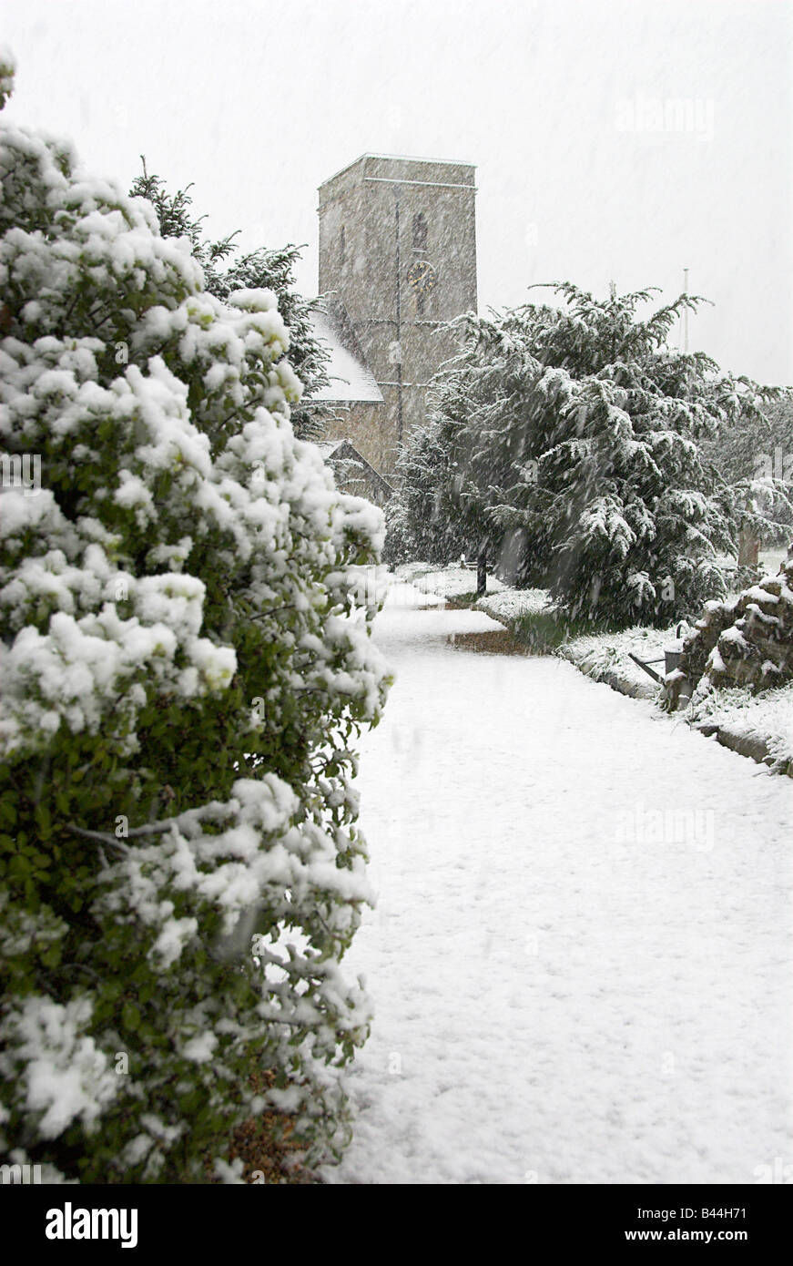 Hamble in Hampshire Covered in Snow - Stock Image