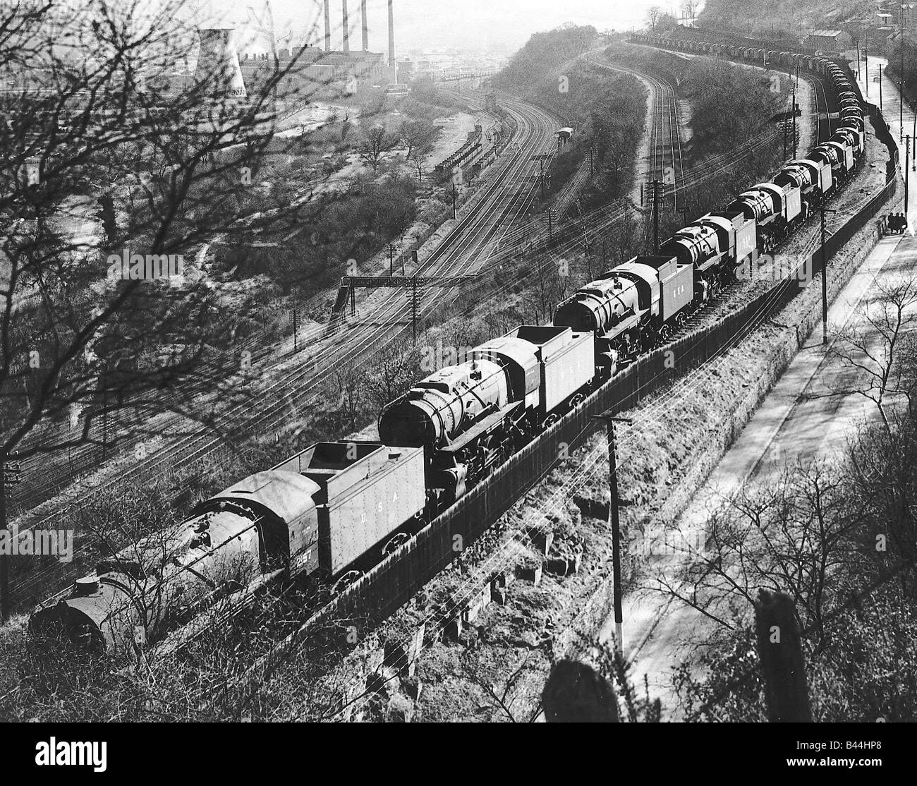 American built locomotives parked in UK awaiting the Second Front The trains helped move supplies and men advance - Stock Image