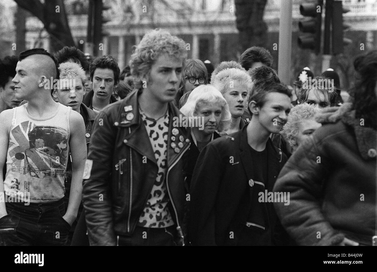 Punks gather in London for a march 1980 - Stock Image