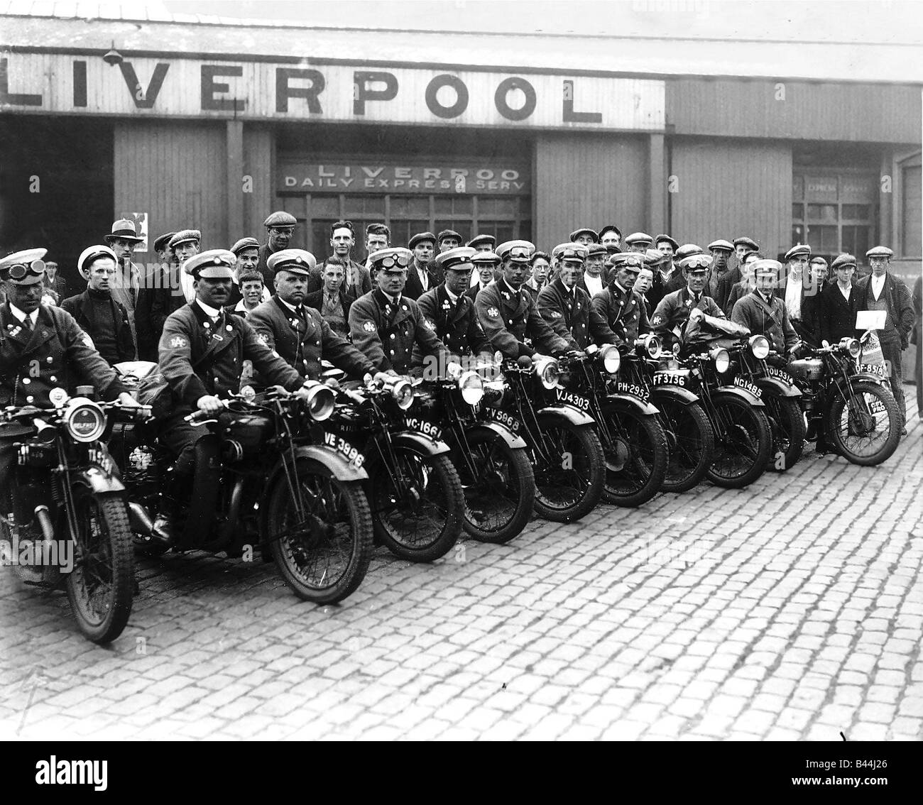 RAC Scouts August 1932 who will be keeping control of traffic congestion at the Ulster TT Race Transport Motorbikes - Stock Image