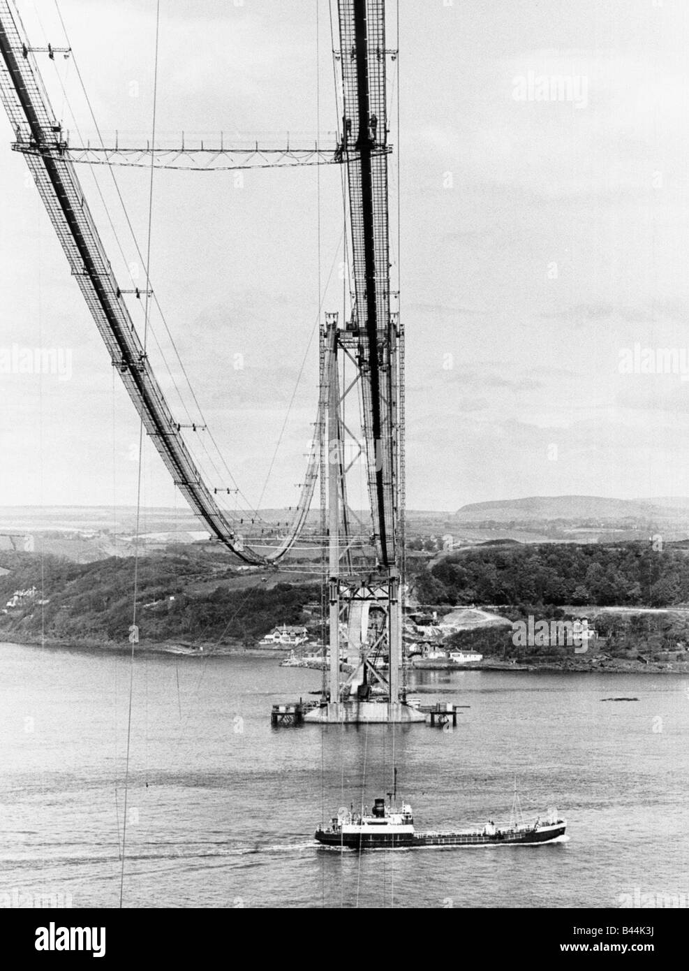 Forth Road Bridge construction June 1962 Wires across river