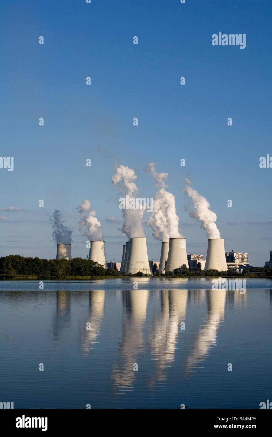 Brown coal power plant Jaenschwalde run by Vattenfall one of the worlds power plants with the highest emission - Stock Image