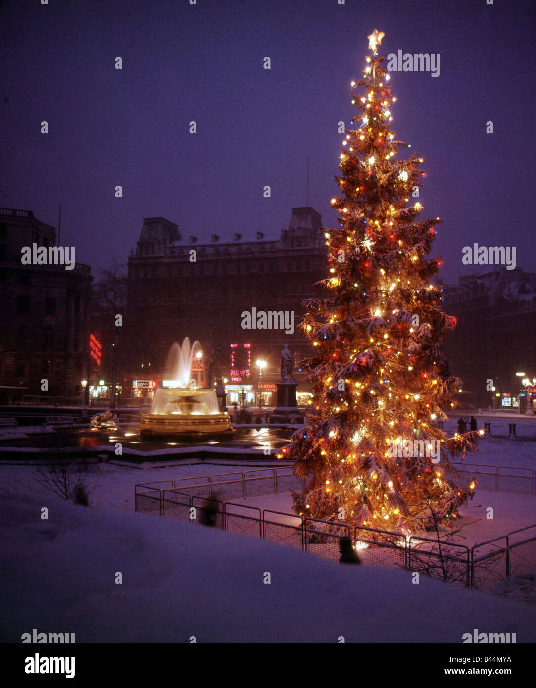 Londons Christmas Tree In Trafalgar Square Is Donated Each Year By Which Country.Christmas Tree Fountains And Lights In Trafalgar Square