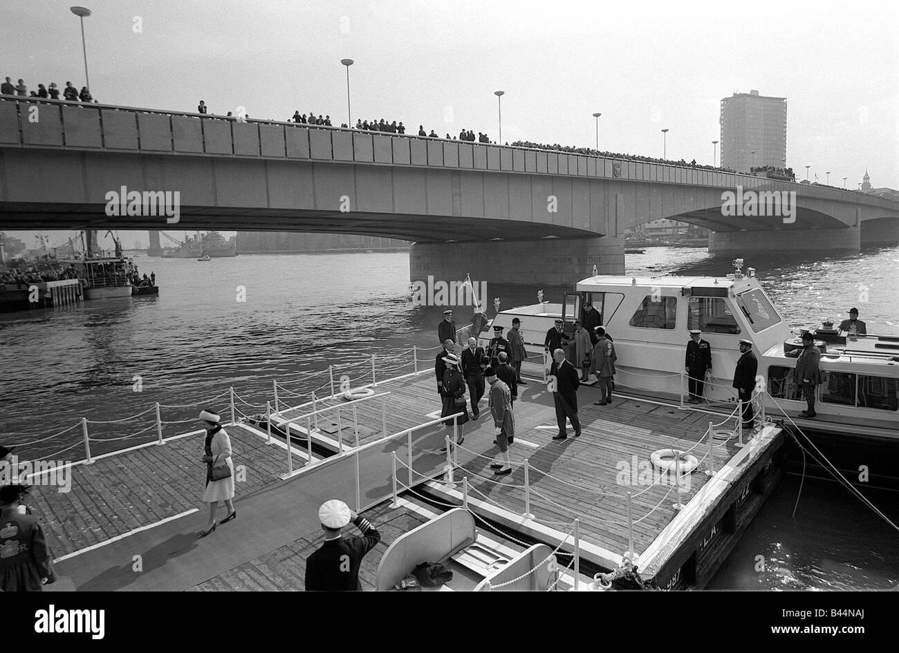 Queen Elizabeth II March 1973 Opening of new London Bridge The Queen arrives at Fishmongers Quay - Stock Image