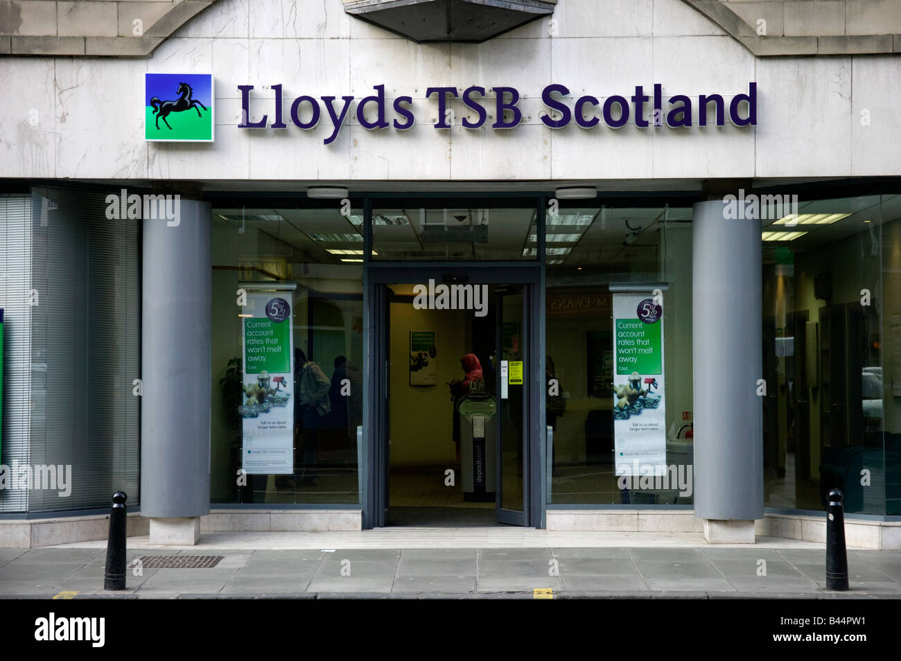 Sign for Lloyds TSB Scotland above branch in Edinburgh, Scotland, UK, Europe - Stock Image