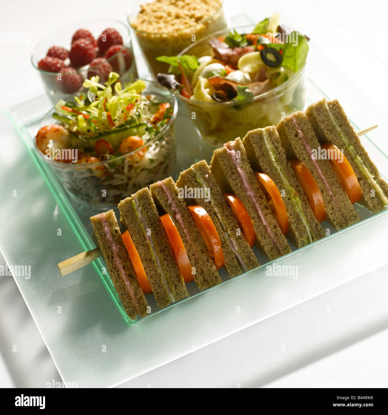 Mixed meal on a tray - Stock Image