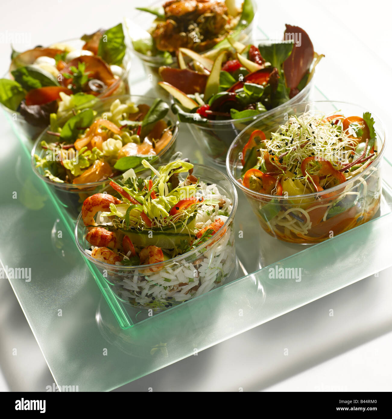 Salads on a tray - Stock Image
