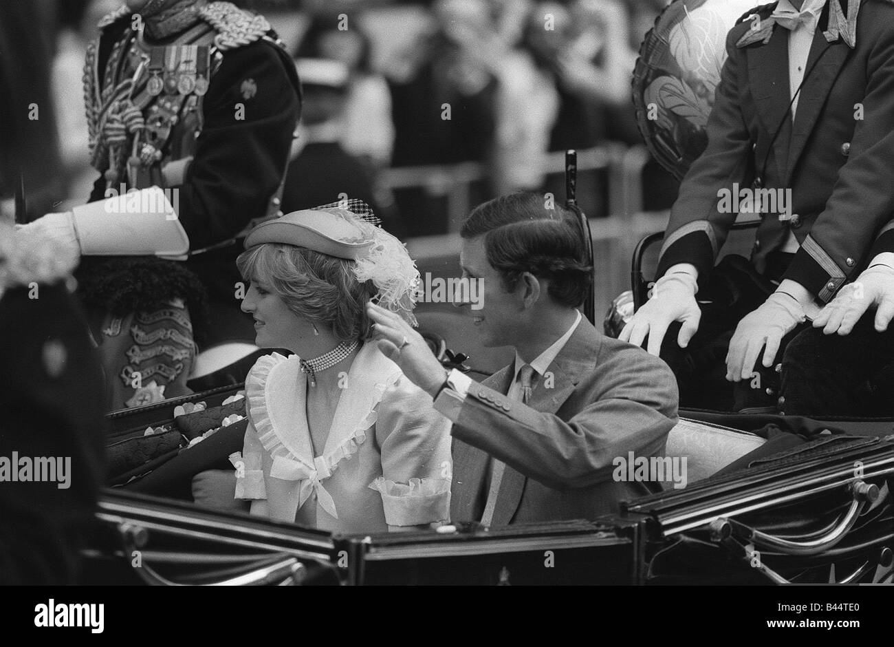 Royal Wedding Prince Charles Diana Wedding The Royal couple head off for their extended honeymoon with the worlds - Stock Image