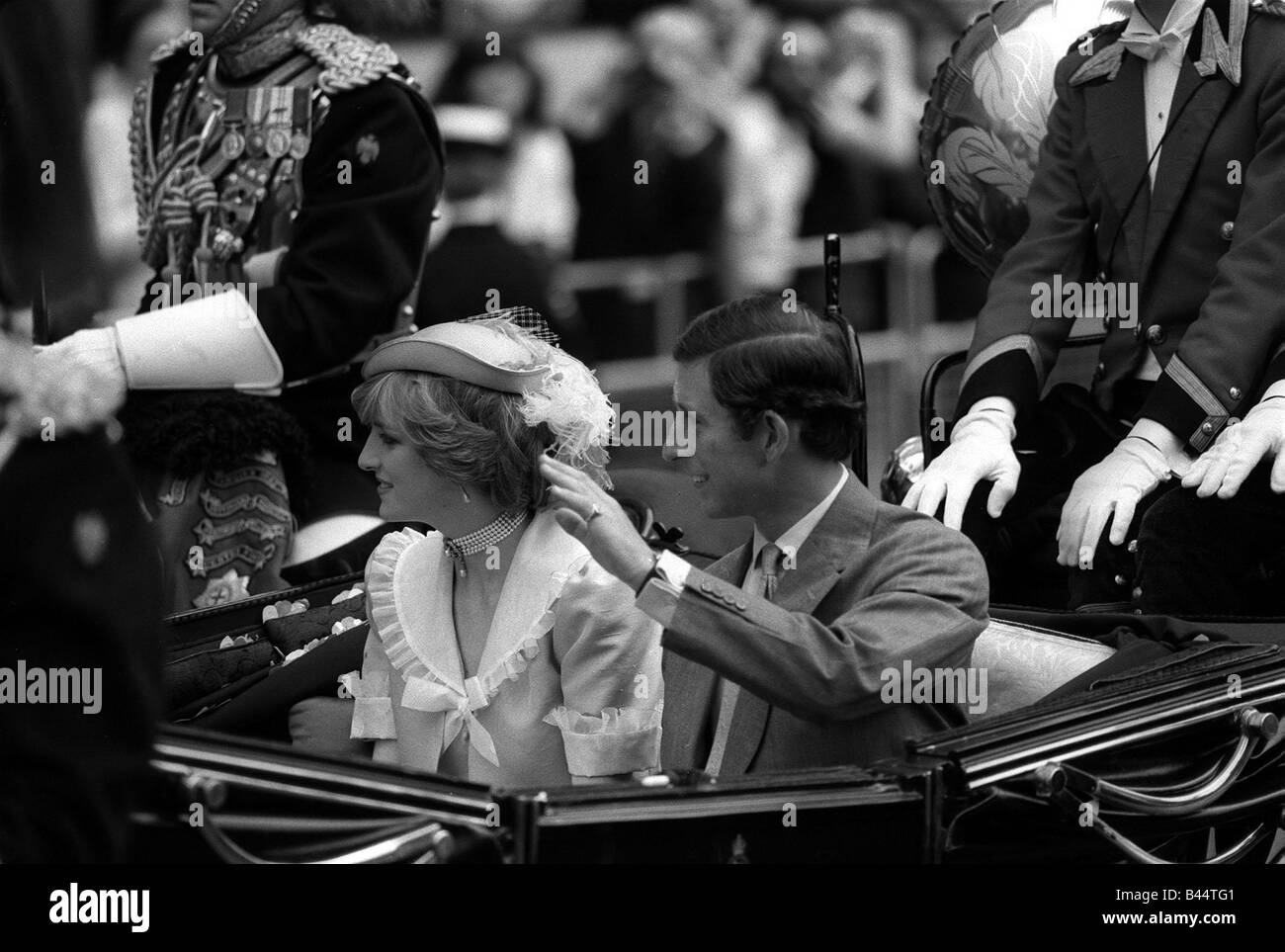 Royal Wedding of Prince Charles and Diana the Royal couple head off for their extended honeymoon in the royal carriage - Stock Image
