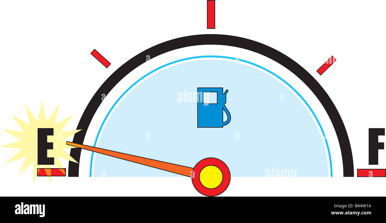 A gas gauge with it s needle on empty Stock Photo: 19776438