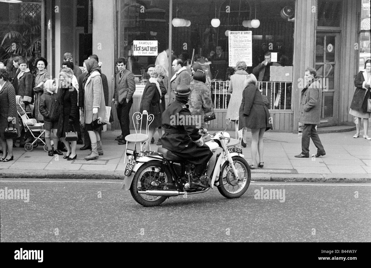 Motorcycle Policeman Orders Three Models Wearing Swimsuits Sitting Outside Guys And Dolls Kings Road Chelsea London