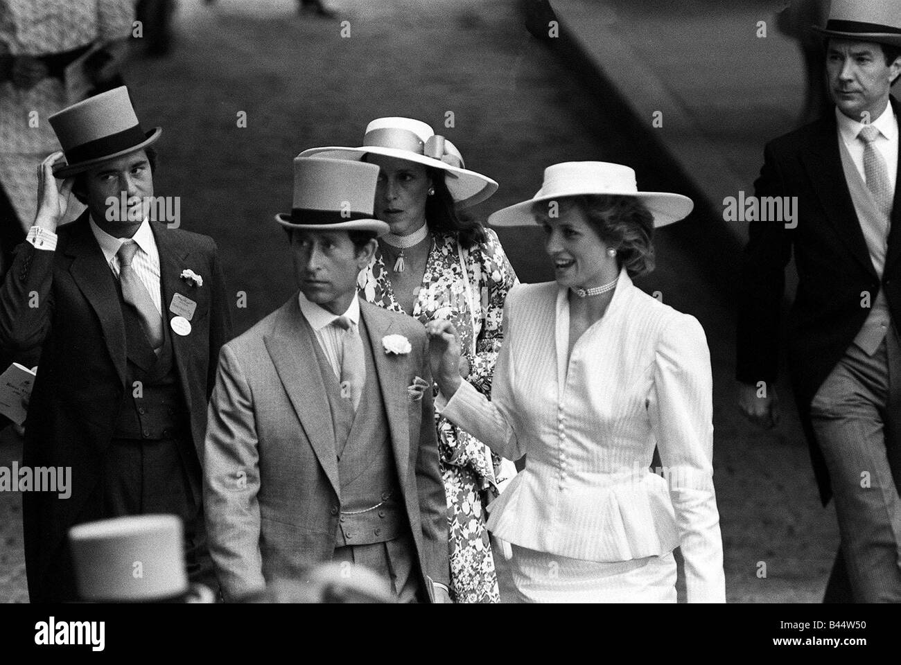 Princess Diana with Prince Charles and Oliver Hoare and his wife Diane at Ascot racecourse June 1986Stock Photo